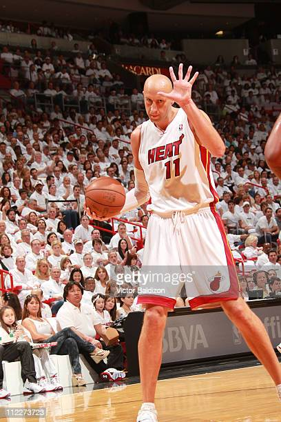 Zydrunas Ilgauskas of the Miami Heat calls a play during a game against the Philadelphia 76ers in Game One of the Eastern Conference Quarterfinals...
