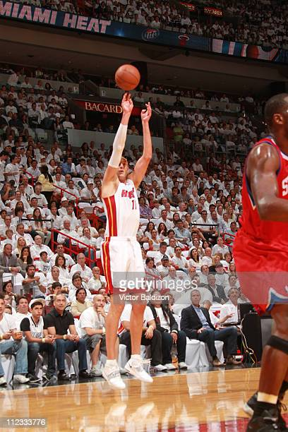 Zydrunas Ilgauskas of the Miami Heat shoots against the Philadelphia 76ers in Game Two of the Eastern Conference Quarterfinals in the 2011 NBA...