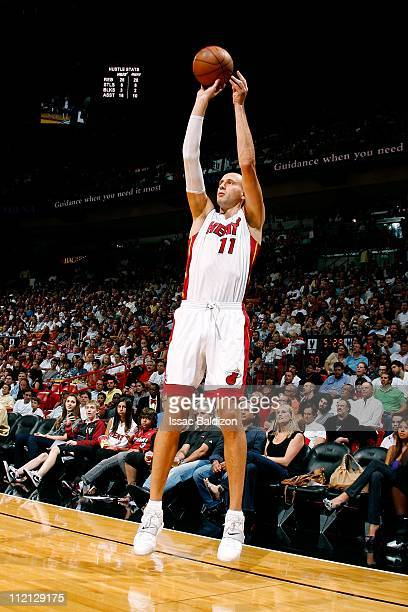 Zydrunas Ilgauskas of the Miami Heat shoots the ball against the Charlotte Bobcats during the NBA game on April 8 2011 at American Airlines Arena in...