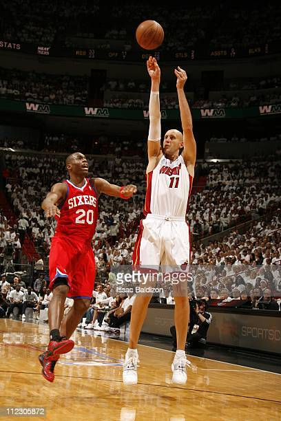 Zydrunas Ilgauskas of the Miami Heat takes a jump shot against the Philadelphia 76ers during a playoff game April 16 2011 at the American Airlines...
