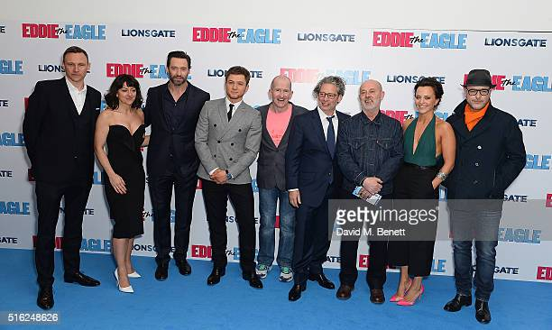 Zygi Kamasa Jo Hartley Hugh Jackman Taron Egerton Eddie Edwards Dexter Fletcher Keith Allen Ania Sowinski and Matthew Vaughn attend the European...