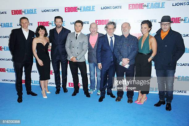 Zygi Kamasa Jo Hartley Hugh Jackman Taron Egerton Eddie 'The Eagle' Edwards Director Dexter Fletcher Keith Allen Ania Sowinski and Matthew Vaughn...