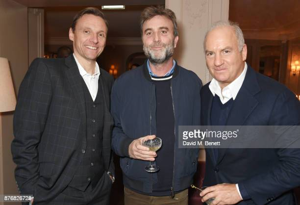 Zygi Kamasa Philip Knatchbull and Charles Finch attend a private dinner celebrating the special screening of Journey's End at Kettner's Townhouse on...