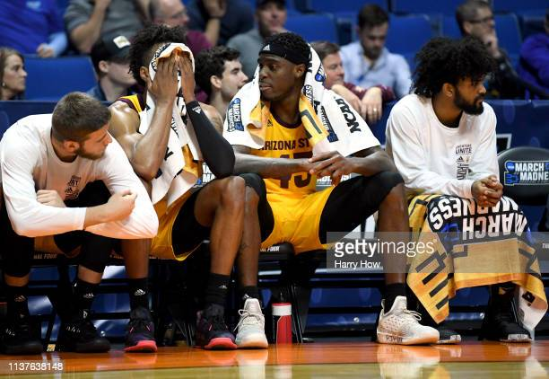 Zylan Cheatham and the Arizona State Sun Devils bench look on in the final minutes of the first round game of the 2019 NCAA Men's Basketball...