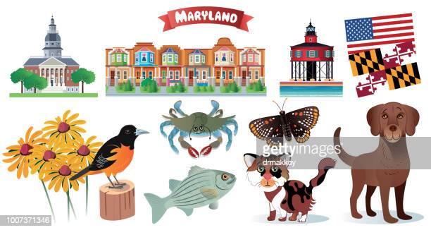 maryland symbols - chesapeake bay stock illustrations, clip art, cartoons, & icons