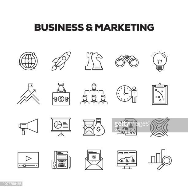 business & marketing line icons set - retail employee stock illustrations