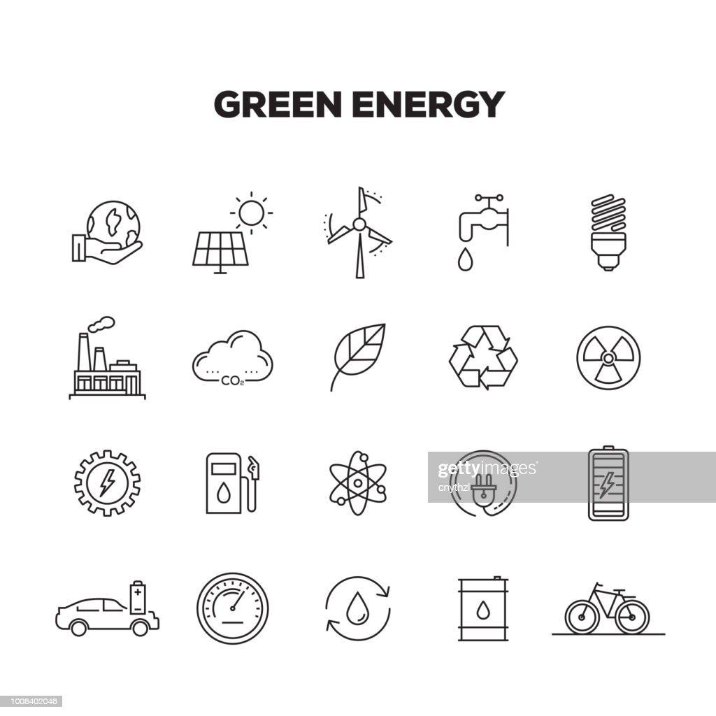 GREEN ENERGY LINE ICONS SET : stock illustration