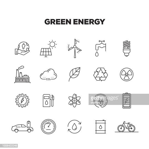 green energy line icons set - fuel and power generation stock illustrations