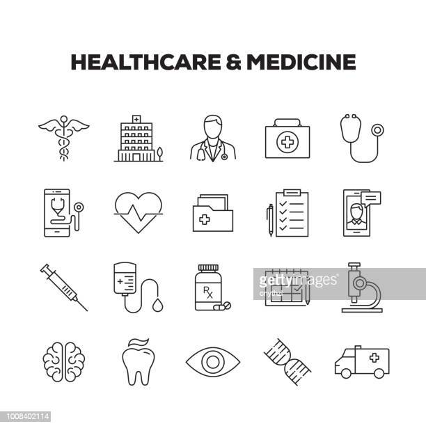 healthcare & medicine line icons set - injecting stock illustrations