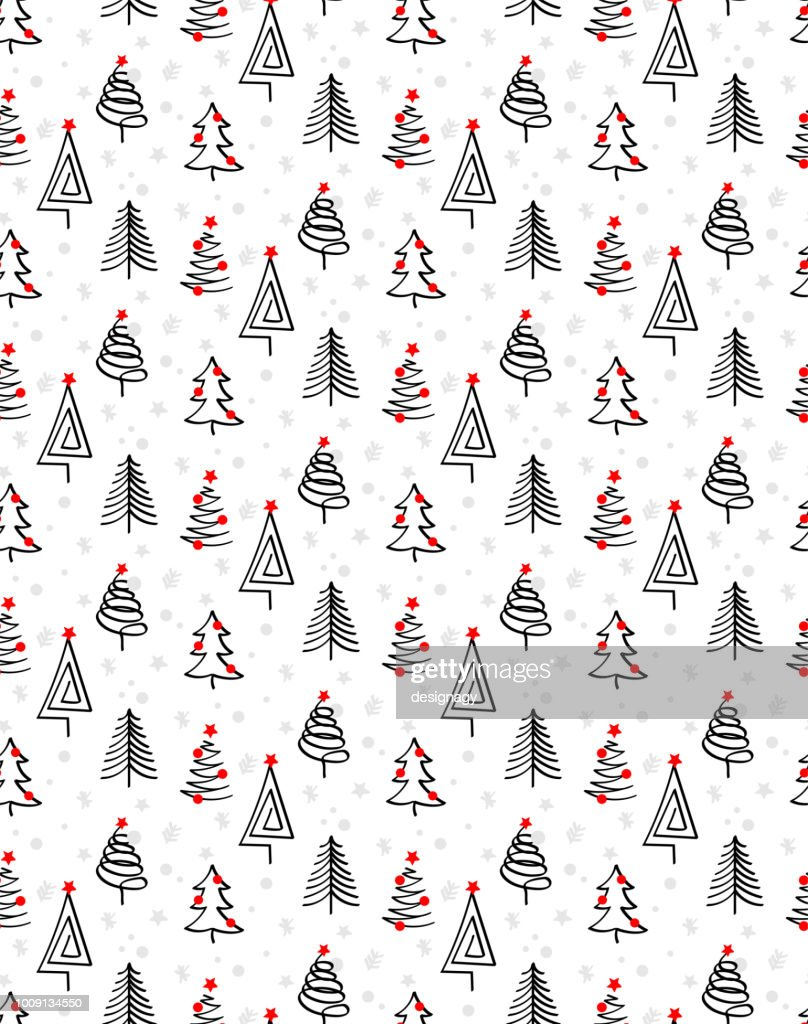 ABSTRACT CHRISTMAS TREES BRUSH ART. SEAMLESS VECTOR PATTERN.