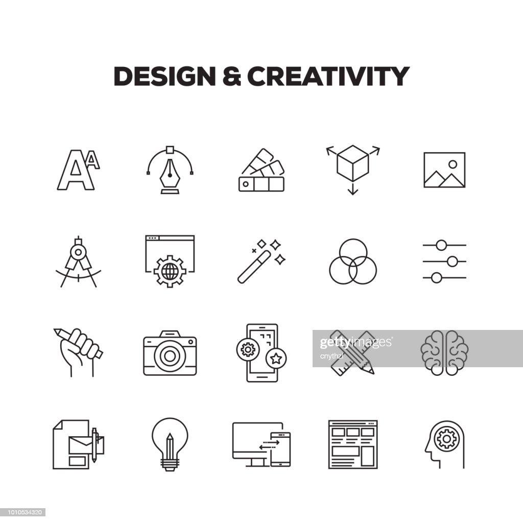 CONJUNTO DE ÍCONES DE DESIGN E CRIATIVIDADE LINHA : Ilustração