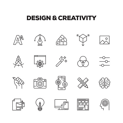 DESIGN AND CREATIVITY LINE ICONS SET - gettyimageskorea