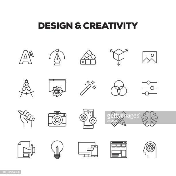 design and creativity line icons set - computer graphic stock illustrations