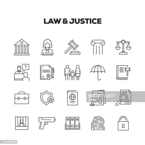 ilustrações de stock, clip art, desenhos animados e ícones de law and justice line icons set - crime or recreational drug or prison or legal trial