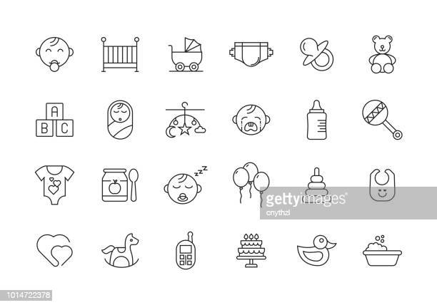 baby and children line icon set - childhood stock illustrations
