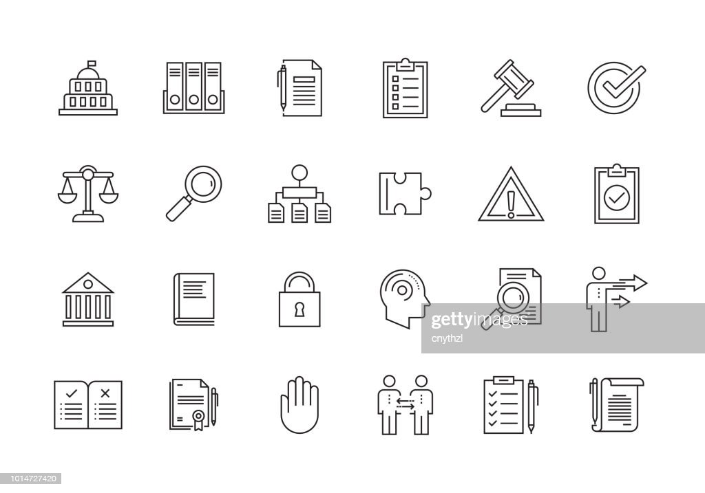COMPLIANCE AND REGULATIONS LINE ICON SET : stock illustration
