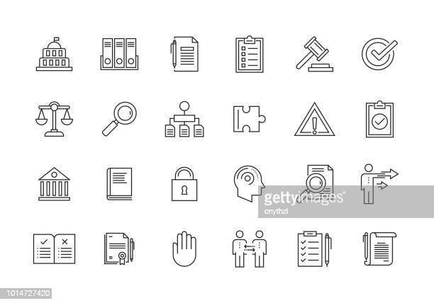 illustrazioni stock, clip art, cartoni animati e icone di tendenza di compliance and regulations line icon set - legge
