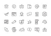 CONTACT US AND COMMUNICATION LINE ICON SET