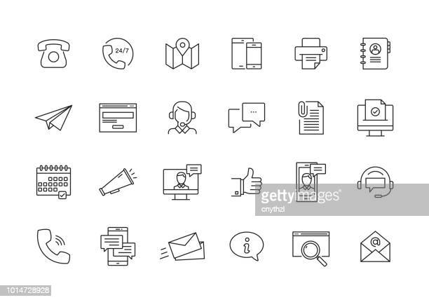 contact us and communication line icon set - e mail stock illustrations