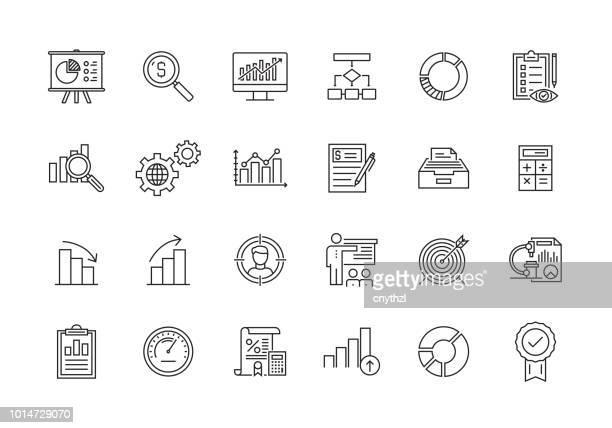 data analytics line icon set - scrutiny stock illustrations