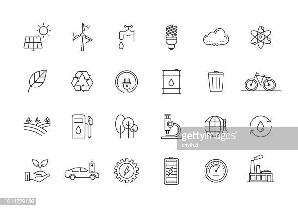 ecology and environment line icon set - condition stock illustrations