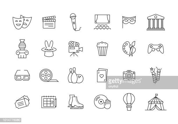 entertainment line icon set - art stock illustrations