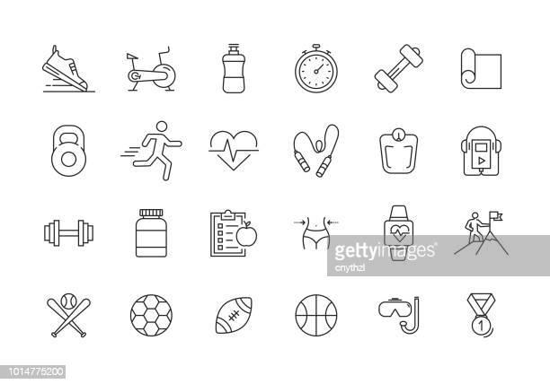 fitness und sport line icon set - sport stock-grafiken, -clipart, -cartoons und -symbole