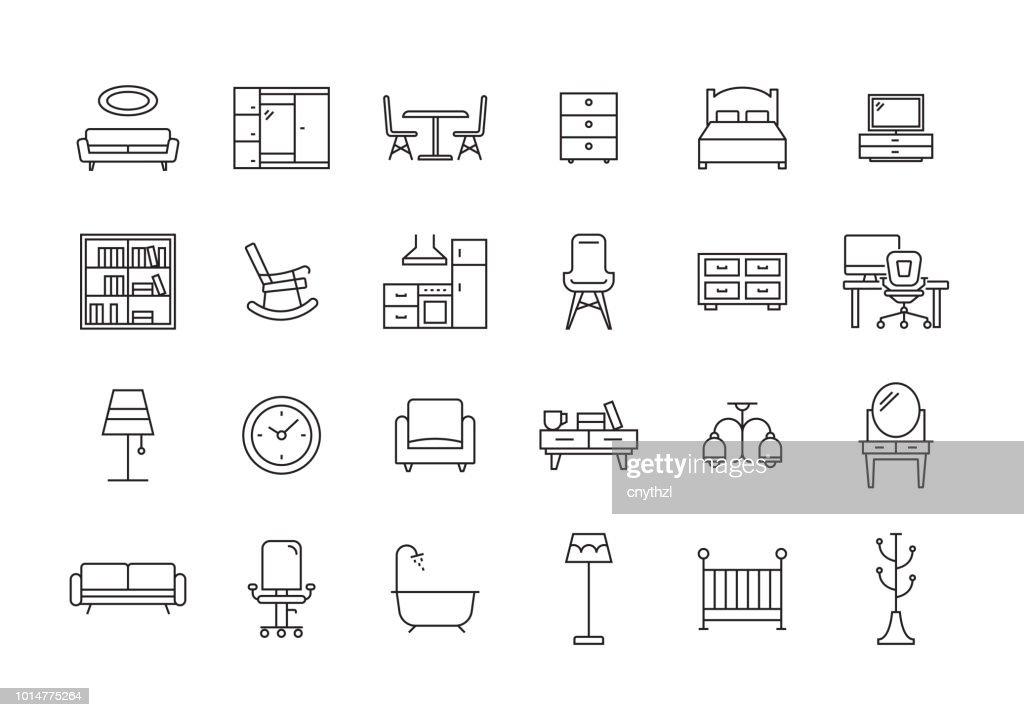 家具ライン アイコン セット : ストックイラストレーション