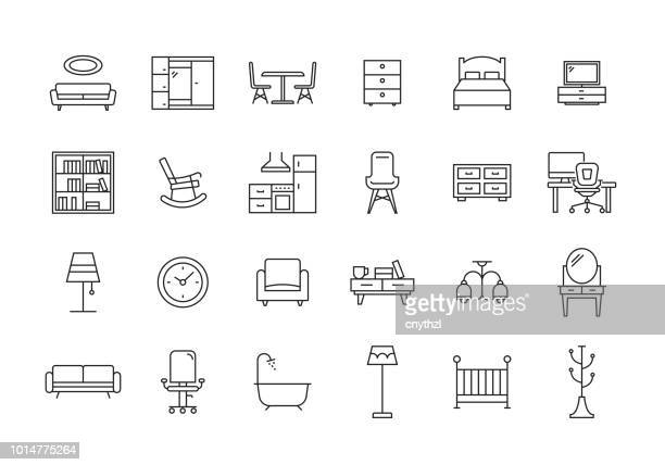 furniture line icon set - chair stock illustrations