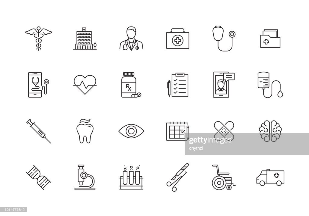 HEALTHCARE AND MEDICAL LINE ICON SET : Stock Illustration