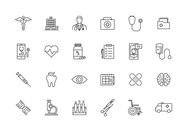 healthcare and medical line icon set - vector stock illustrations