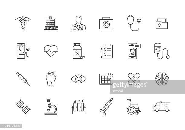 healthcare and medical line icon set - heart symbol stock illustrations