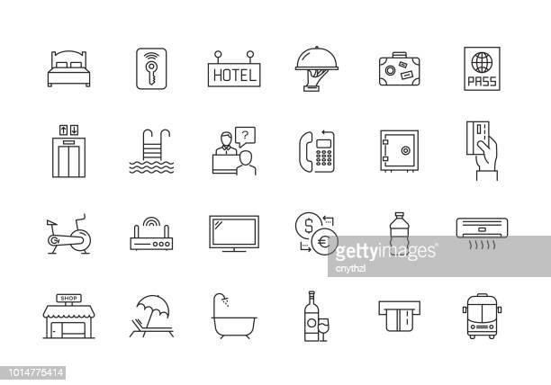 hotel line icon set - elevator stock illustrations, clip art, cartoons, & icons
