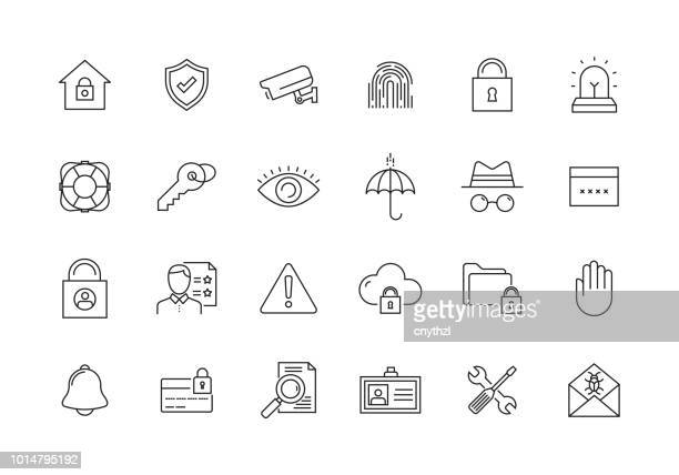 security and protection line icon set - access control stock illustrations, clip art, cartoons, & icons