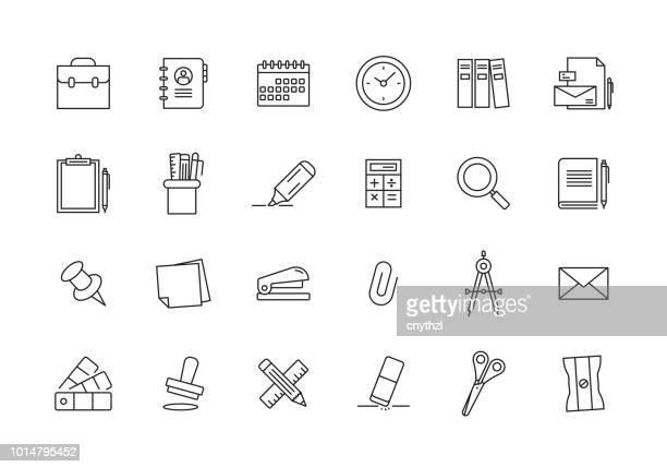 ilustrações, clipart, desenhos animados e ícones de ícone de linha de papelaria - clipe de papel
