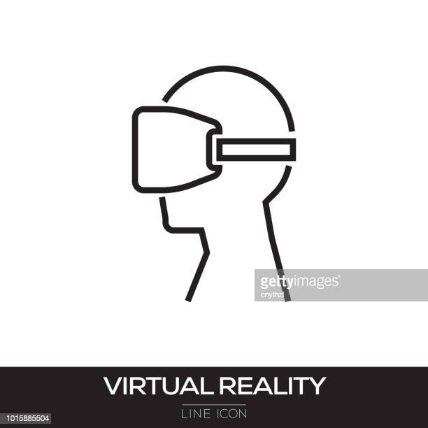 virtual reality line icon - virtual reality stock illustrations