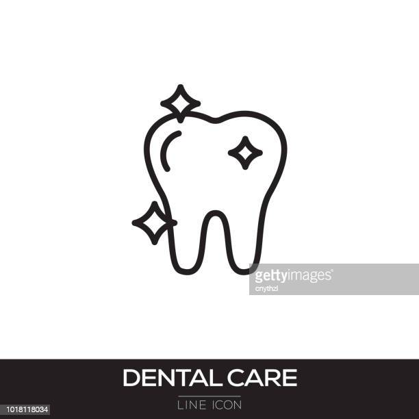 dental care line icon - dental floss stock illustrations