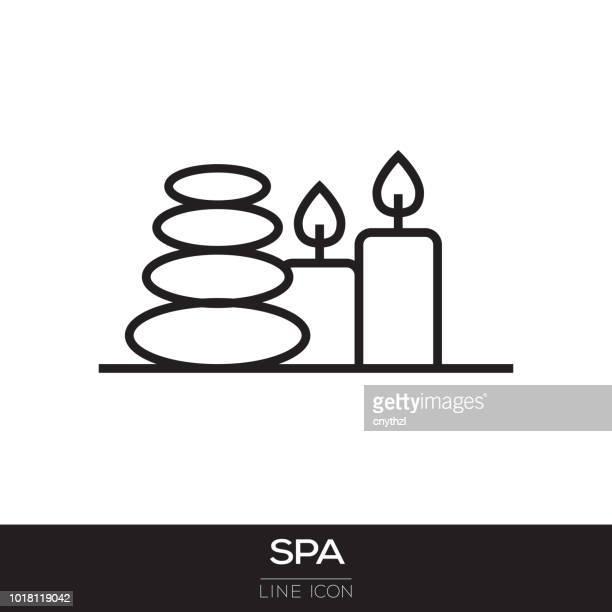 spa line icon - health spa stock illustrations, clip art, cartoons, & icons