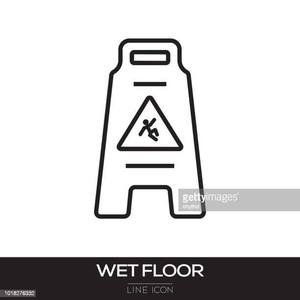 wet floor sign line icon - wet stock illustrations