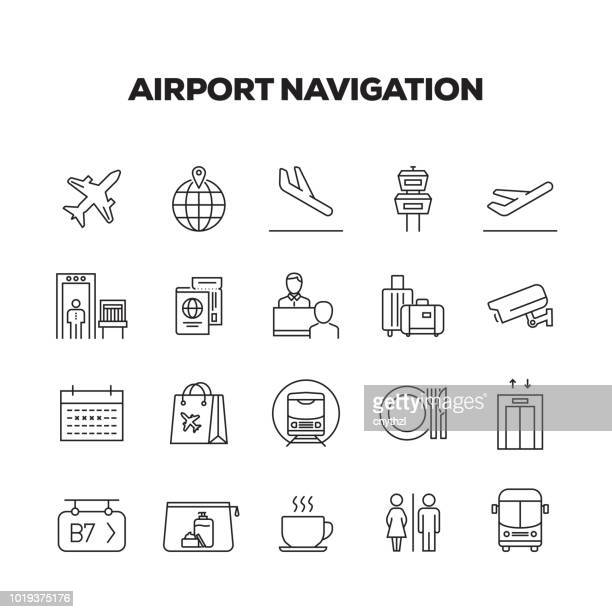 airport navigation line icons set - elevator stock illustrations, clip art, cartoons, & icons
