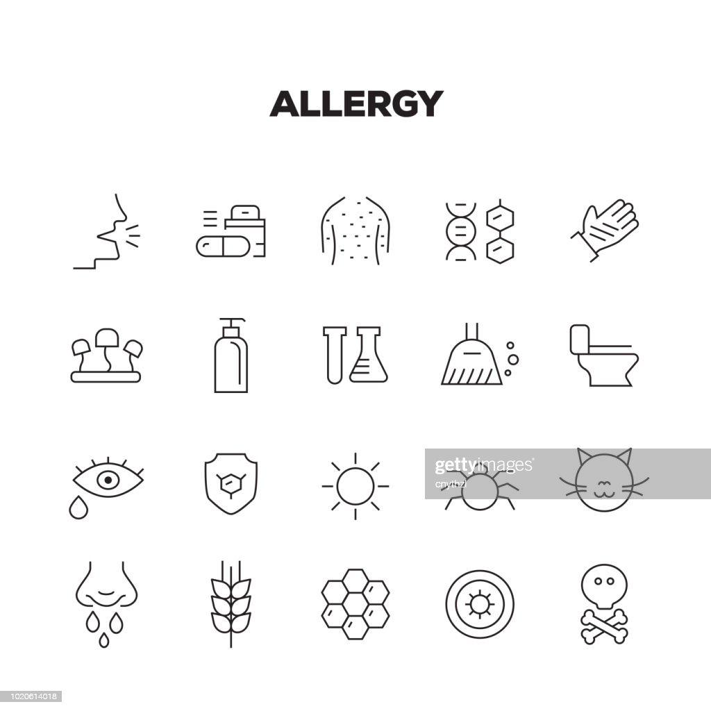 アレルギーの線アイコンを設定 : ストックイラストレーション