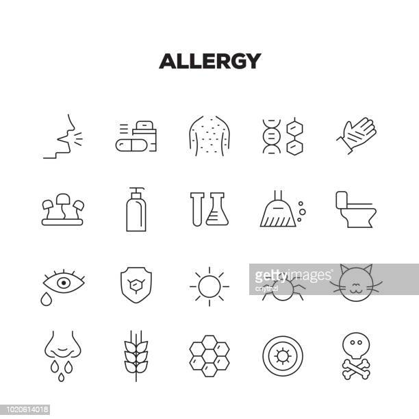 allergy line icons set - cancer illness stock illustrations, clip art, cartoons, & icons