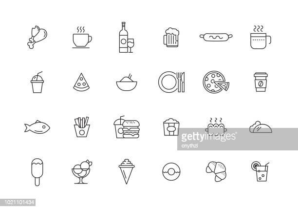 food and drink line icon set - coffee drink stock illustrations