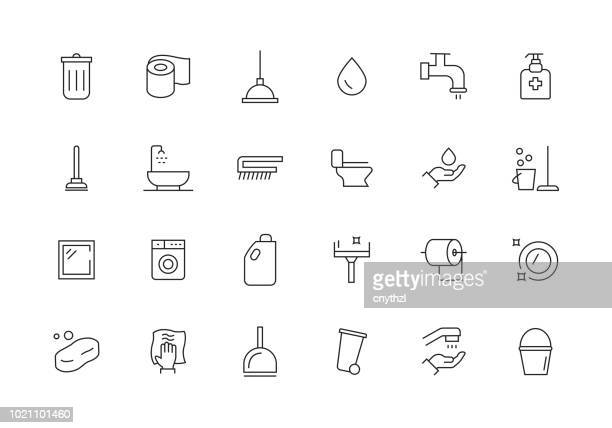 cleaning line icon set - maid stock illustrations, clip art, cartoons, & icons