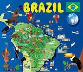 CARTOON MAP OF BRAZIL