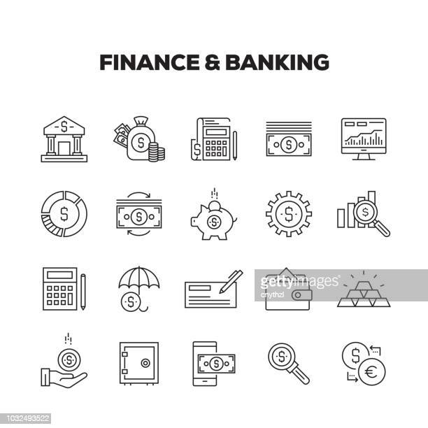 finance and banking line icons set - investment stock illustrations