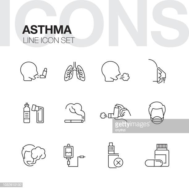 asthma line icons - coughing stock illustrations