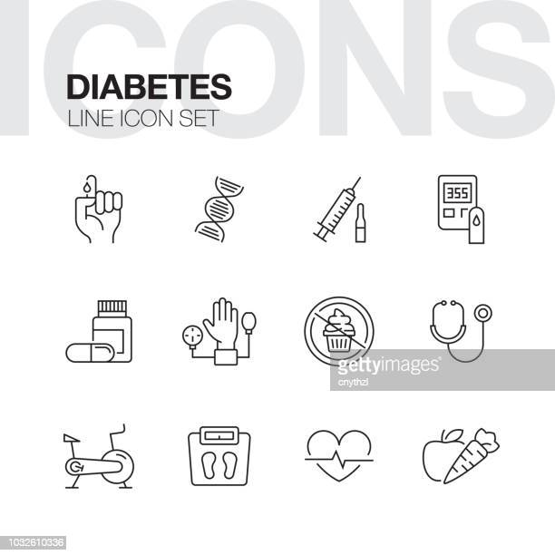 diabetes line icons - obesity icon stock illustrations