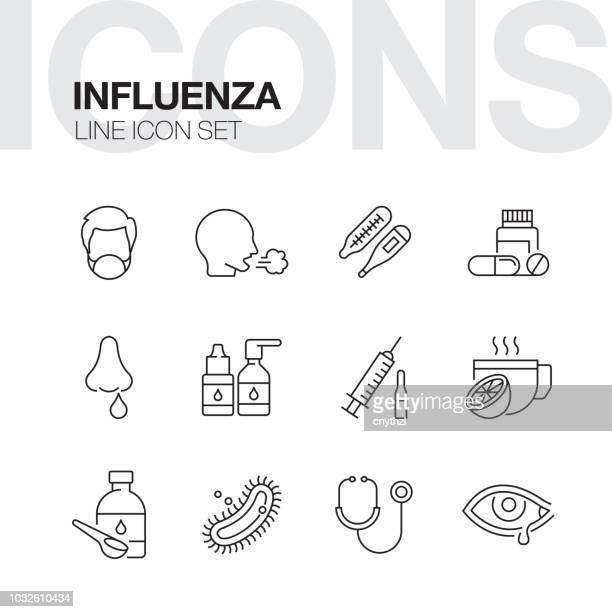influenza line icons - coughing stock illustrations