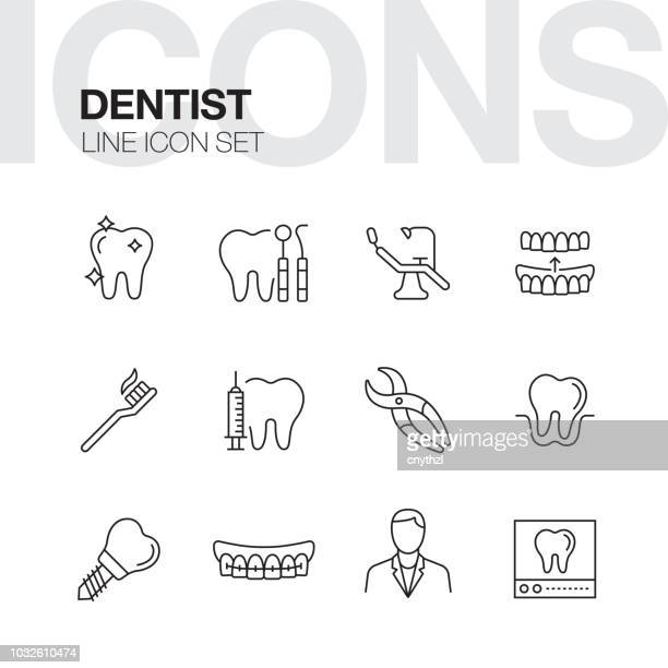 dentist line icons - dental equipment stock illustrations